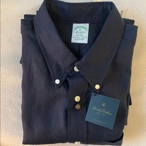 Brooks Brothers Navy Irish Linen Button Down